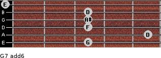 G-7(add6) for guitar on frets 3, 5, 3, 3, 3, 0