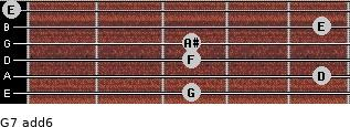 G-7(add6) for guitar on frets 3, 5, 3, 3, 5, 0