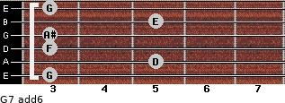 G-7(add6) for guitar on frets 3, 5, 3, 3, 5, 3