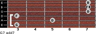 G7 add(7) for guitar on frets 3, 5, 3, 7, 7, 7