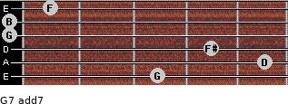 G7 add(7) for guitar on frets 3, 5, 4, 0, 0, 1