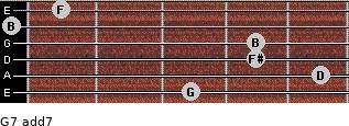 G7 add(7) for guitar on frets 3, 5, 4, 4, 0, 1