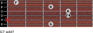 G7 add(7) for guitar on frets 3, x, 4, 4, 3, 1