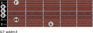 G7 add(m3) for guitar on frets 3, 1, 0, 0, 0, 1