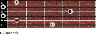 G7 add(m3) for guitar on frets 3, 1, 0, 4, 0, 1