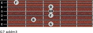 G7 add(m3) for guitar on frets 3, 2, 3, 3, 3, 1