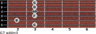 G7 add(m3) for guitar on frets 3, 2, 3, 3, 3, 3