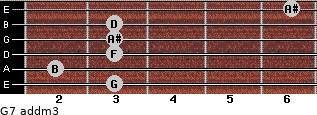 G7 add(m3) for guitar on frets 3, 2, 3, 3, 3, 6