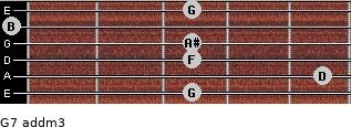 G7 add(m3) for guitar on frets 3, 5, 3, 3, 0, 3