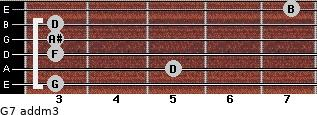 G7 add(m3) for guitar on frets 3, 5, 3, 3, 3, 7