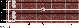 G7sus4 for guitar on frets 3, 3, 3, 5, 3, 3