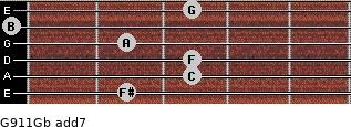 G9/11/Gb add(7) guitar chord
