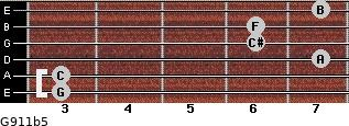 G9/11b5 for guitar on frets 3, 3, 7, 6, 6, 7