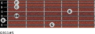 G9/11#5 for guitar on frets 3, 0, 1, 4, 1, 1