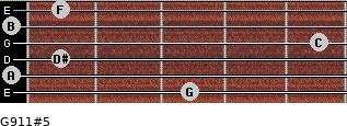 G9/11#5 for guitar on frets 3, 0, 1, 5, 0, 1