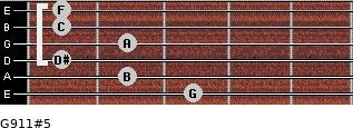 G9/11#5 for guitar on frets 3, 2, 1, 2, 1, 1