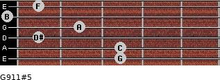 G9/11#5 for guitar on frets 3, 3, 1, 2, 0, 1