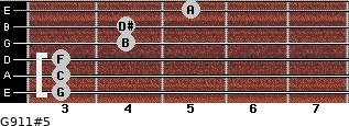 G9/11#5 for guitar on frets 3, 3, 3, 4, 4, 5