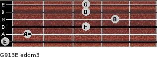 G9/13/E add(m3) for guitar on frets 0, 1, 3, 4, 3, 3