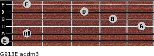 G9/13/E add(m3) for guitar on frets 0, 1, 5, 4, 3, 1