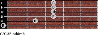 G9/13/E add(m3) for guitar on frets 0, 2, 3, 3, 3, 3