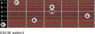 G9/13/E add(m3) for guitar on frets 0, 2, 5, 3, 3, 1