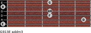 G9/13/E add(m3) for guitar on frets 0, 5, 3, 3, 0, 3