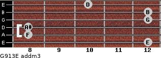 G9/13/E add(m3) for guitar on frets 12, 8, 8, 12, 12, 10