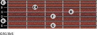 G9/13b5 for guitar on frets 3, 0, 3, 4, 2, 0