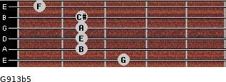 G9/13b5 for guitar on frets 3, 2, 2, 2, 2, 1