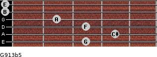 G9/13b5 for guitar on frets 3, 4, 3, 2, 0, 0