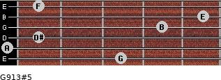 G9/13#5 for guitar on frets 3, 0, 1, 4, 5, 1