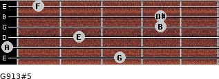 G9/13#5 for guitar on frets 3, 0, 2, 4, 4, 1