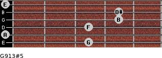 G9/13#5 for guitar on frets 3, 0, 3, 4, 4, 0