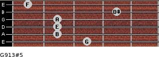 G9/13#5 for guitar on frets 3, 2, 2, 2, 4, 1