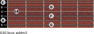 G9/13sus add(m2) guitar chord