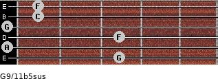 G9/11b5sus for guitar on frets 3, 0, 3, 0, 1, 1