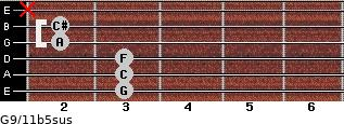 G9/11b5sus for guitar on frets 3, 3, 3, 2, 2, x