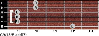 G9/13/E add(7) for guitar on frets 12, 9, 9, 9, 10, 10