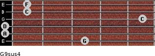 G9sus4 for guitar on frets 3, 0, 0, 5, 1, 1