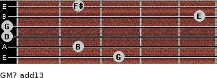 GM7(add13) for guitar on frets 3, 2, 0, 0, 5, 2