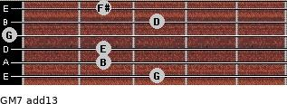 GM7(add13) for guitar on frets 3, 2, 2, 0, 3, 2