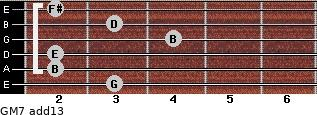 GM7(add13) for guitar on frets 3, 2, 2, 4, 3, 2