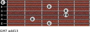 GM7(add13) for guitar on frets 3, 2, 4, 4, 3, 0