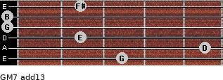 GM7(add13) for guitar on frets 3, 5, 2, 0, 0, 2