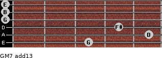 GM7(add13) for guitar on frets 3, 5, 4, 0, 0, 0