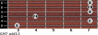 GM7(add13) for guitar on frets 3, 7, 4, 7, 7, 7