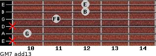 GM7(add13) for guitar on frets x, 10, x, 11, 12, 12