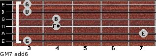 GM7(add6) for guitar on frets 3, 7, 4, 4, 3, 3