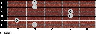 G add(4) for guitar on frets 3, 2, 5, 5, 3, 3
